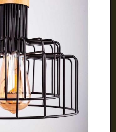 Detalle Lámpara de techo Nucia negro-madera Ø25