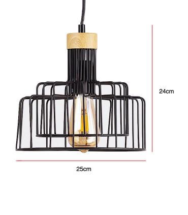 Medidas Lámpara de techo Nucia negro-madera Ø25