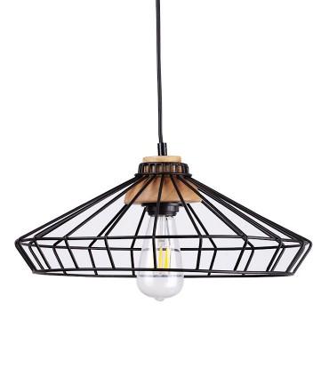 Lámpara de techo Culla negro-madera Ø39cm