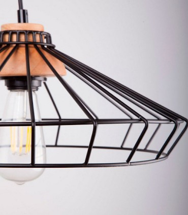 Detalle Lámpara de techo Culla negro-madera Ø39cm