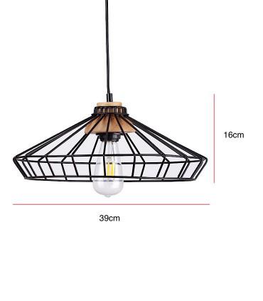 Medidas Lámpara de techo Culla negro-madera Ø39cm