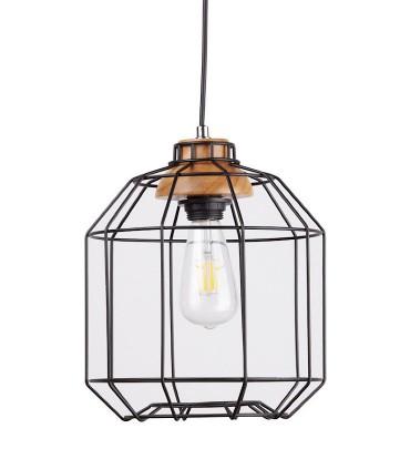 Lámpara de techo Rotova negro-madera Ø26cm
