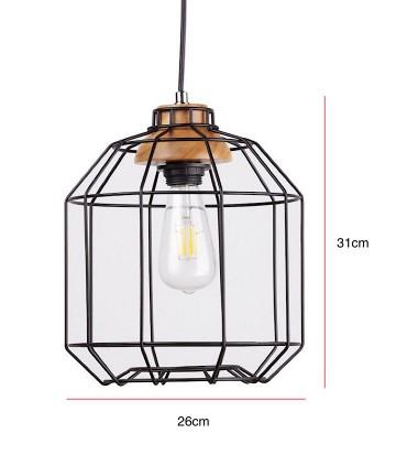 Medidas Lámpara de techo Rotova negro-madera Ø26cm