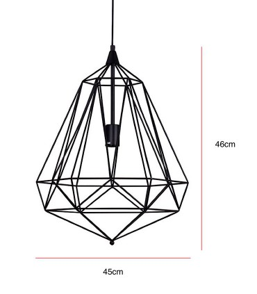 Medidas Lámpara de techo TIRIG trapezoidal negro Ø45cm