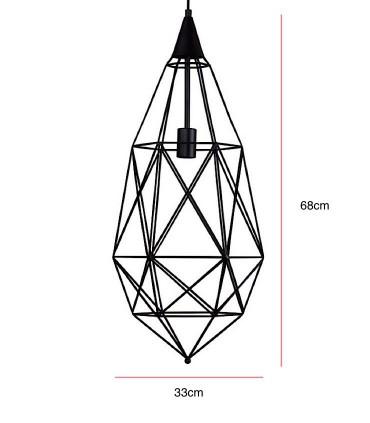 Medidas Lámpara de techo TORAS geométrica negro Ø33cm