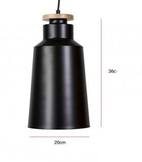 Medidas Lámpara de techo colgante 1 luz ALCORA negro Ø20cm