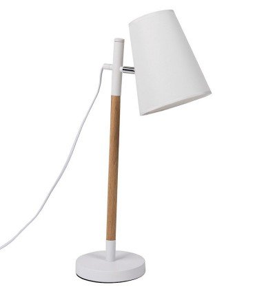 Lámpara de sobremesa DEVA blanco-madera Somcasa