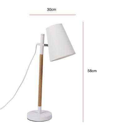 Medidas Lámpara de sobremesa DEVA blanco-madera Somcasa