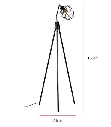 Medidas Lámpara de pie SERPIS negro Somcasa