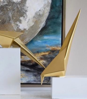 Pájaro ORIGAMI dorado base horizontal