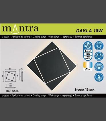 Características Aplique Dakla cuadrado 18W Negro 6428 Mantra