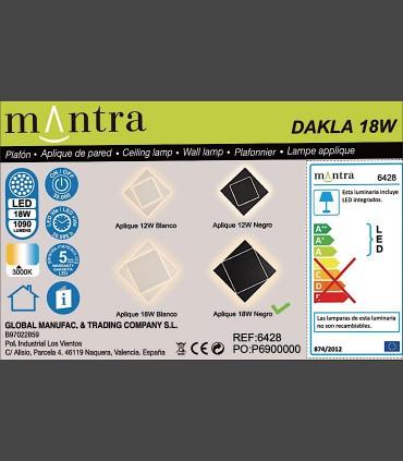 Detalles técnicos Aplique Dakla cuadrado 18W Negro 6428 Mantra