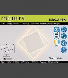 Características Aplique Dakla cuadrado 18W Blanco 6426 Mantra