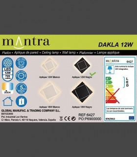 Detalles técnicos Aplique Dakla cuadrado 18W Blanco 6426 Mantra