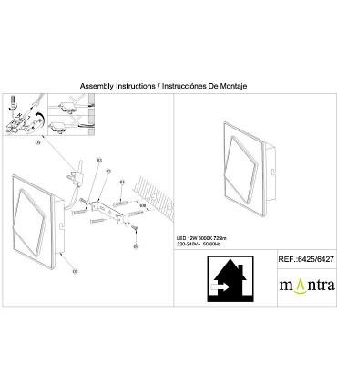 Instrucciones de montaje Aplique Dakla cuadrado 18W Blanco 6426 Mantra