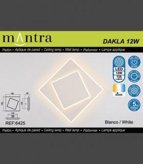 Características Aplique Dakla cuadrado 12W Blanco 6425 Mantra