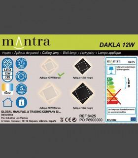 Detalles técnicos Aplique Dakla cuadrado 12W Blanco 6425 Mantra