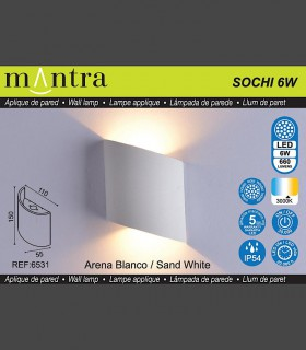 Características Aplique exterior Sochi Blanco 6531 Mantra