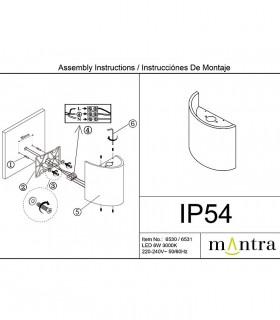 Instrucciones de montaje Aplique exterior Sochi Blanco 6531 Mantra