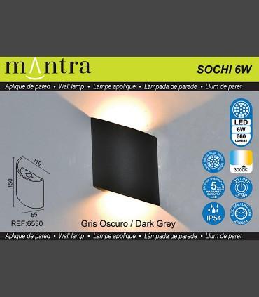 Características Aplique exterior Sochi gris oscuro 6530 Mantra