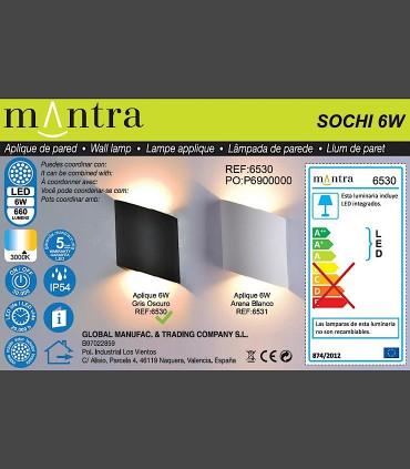 Detalles técnicos Aplique exterior Sochi gris oscuro 6530 Mantra