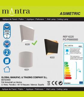 Detalles técnicos Aplique Asimetric blanco 6220 Mantra