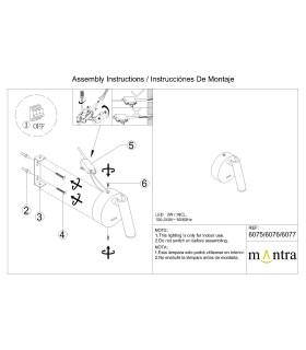 Instrucciones de montaje Aplique Lectura cabecero PREA níquel 3W 6076 Mantra