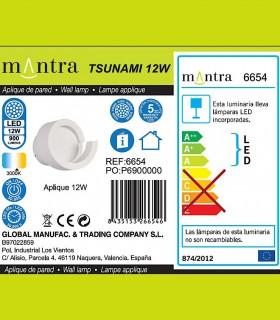 Detalles técnicos Aplique TSUNAMI LED blanco 6654 MANTRA