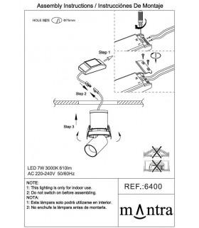 Instrucciones de montaje Foco Empotrable Basculante GARDA 7W Mantra