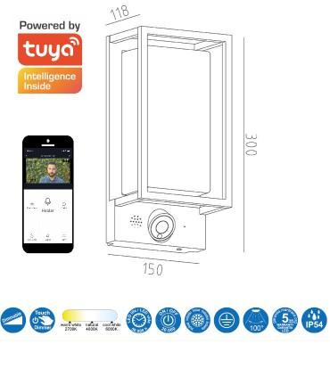 Medidas Aplique Led exterior con cámara Meribel IP54 App TUYA Mantra