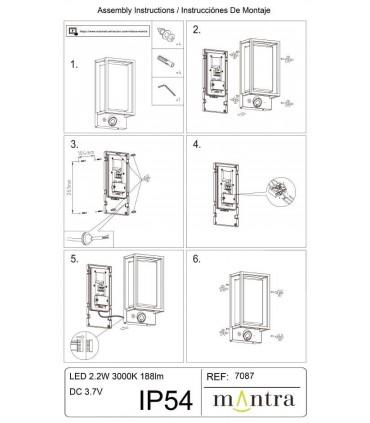Instrucciones de montaje Aplique Led exterior con cámara Meribel IP54 App TUYA Mantra