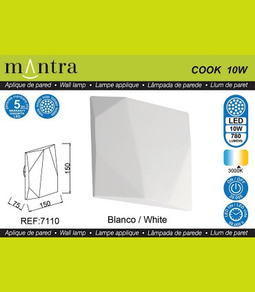Características Aplique led COOK 10w blanco 7110 Mantra