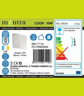 Detalles técnicos Aplique led COOK 10w blanco 7110 Mantra