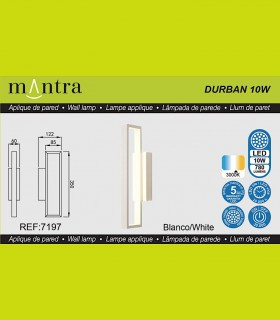 Características Aplique led DURBAN blanco 10w 7197 Mantra