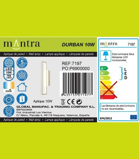 Detalles Aplique led DURBAN blanco 10w 7197 Mantra