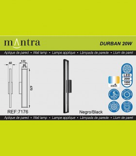 Características Aplique led DURBAN negro 20w 7176 Mantra
