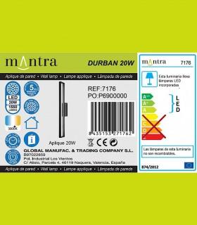 Detalles técnicos Aplique led DURBAN negro 20w 7176 Mantra