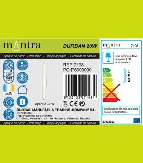 Epecificaciones Aplique led DURBAN blanco 20w 7198 Mantra