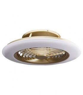 Ventilador de techo Alisio Mantra dorado-cuero DC con Mando 6707