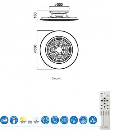 Características Ventilador de techo Alisio Mantra dorado-cuero DC con Mando 6707