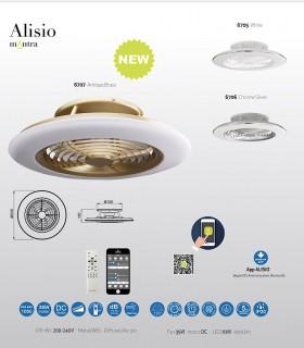 Detalles técnicos Ventilador de techo Alisio Mantra dorado-cuero DC con Mando 6707