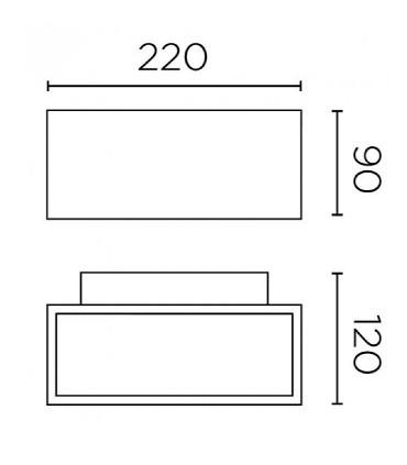 Medidas: Aplique AFRODITA Led Blanco17.5w 22cm 3000K - LedsC4