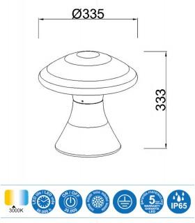 Medidas Baliza led exterior TAOS 12W cemento IP65 7106  Mantra