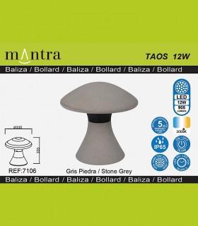 Detalles técnicos Baliza led exterior TAOS 12W cemento IP65 7106  Mantra