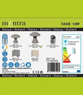 Colección Baliza led exterior TAOS 12W cemento IP65 7106  Mantra