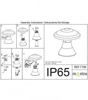 Instrucciones de montaje Baliza led exterior TAOS 12W cemento IP65 7106  Mantra
