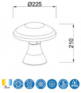Medidas Baliza led exterior TAOS 6.5W cemento IP65 7105  Mantra