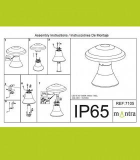 Instrucciones de montaje Baliza led exterior TAOS 6.5W cemento IP65 7105  Mantra
