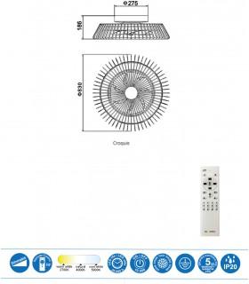 Medidas Plafón ventilador Led Himalaya Negro 7121 Mantra