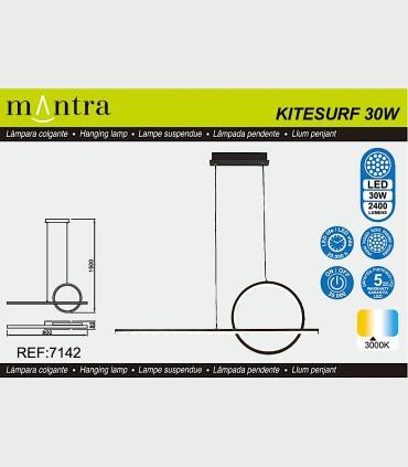 Características Lámpara colgante KITESURF LED 30W Negro 7142 Mantra
